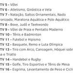 Confira abaixo quais modalidades serão exibidas em cada um dos canais extras do SporTV na Olimpíada: https://t.co/738xA8Vr8t