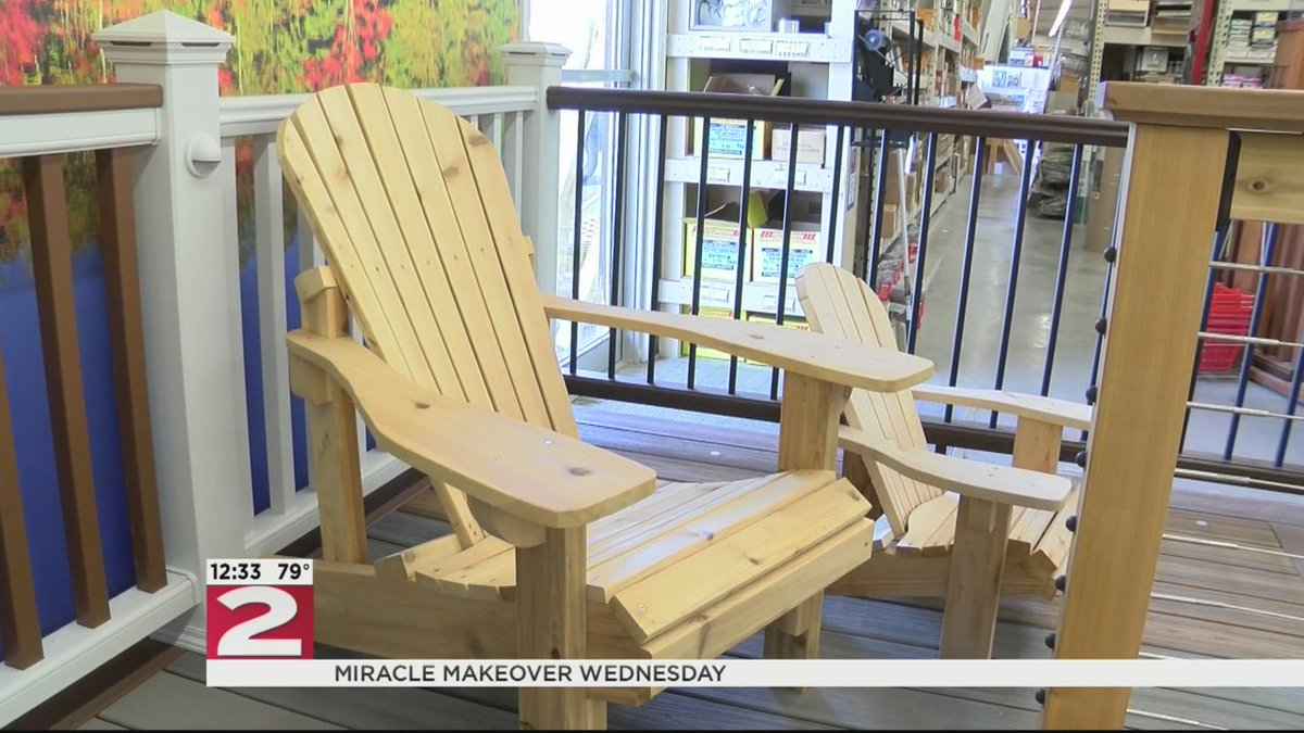 miracle makeover: jay-k lumber offers 4 adirondack chairs as bonus