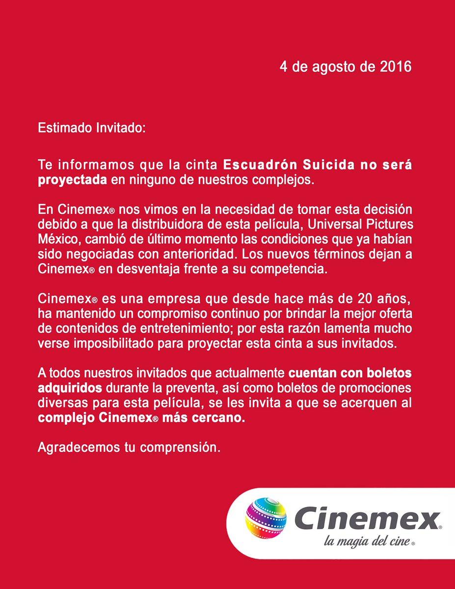 A todos nuestros invitados les informamos que en Cinemex no proyectaremos la película Escuadrón Suicida. https://t.co/7Jka4u9S9v