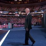 """Vice President Joe Biden walks onto DNC stage to the """"Rocky"""" theme song. #DemsInPhilly https://t.co/nrJdSFFzom"""