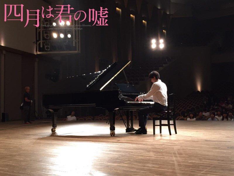 【君嘘🎹今日の一枚】  10月20日@和光市  山﨑賢人 「『愛の悲しみ』演奏中」  #君嘘映画