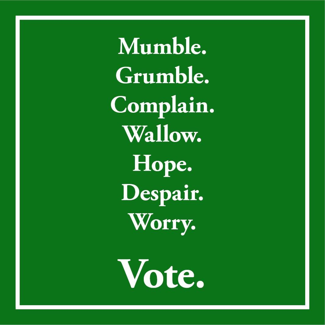 """Don't boo. Vote."" @POTUS fondly reminds us of Paul's ""Mumble Grumble Complain Wallow Hope Despair Worry VOTE""!! https://t.co/pzAOACBsLI"