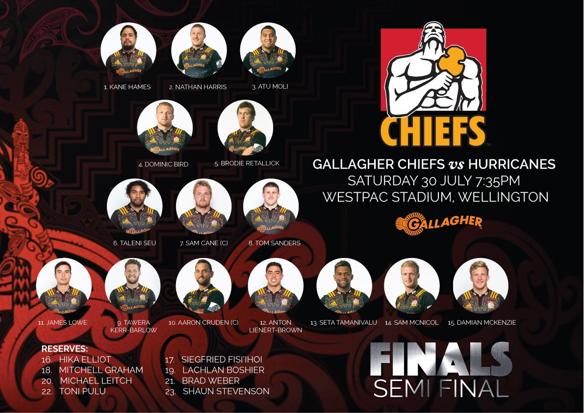 Your Gallagher Chiefs team has been named to take on the @Hurricanesrugby this Saturday for the semi #HURvCHI https://t.co/powafIxU9G