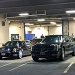 ". @Potus limo, aka ""the Beast"" on the right, dwarfs @VP limo on the left. #DemsInPhilly https://t.co/A6wl9gP1jA"