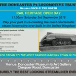 Rail Heritage Open Day @DoncasterMuseum 3 Sept. 11.30am. Speakers on steam trains #doncasterisgreat @MyDoncaster https://t.co/XpzTxqjajZ