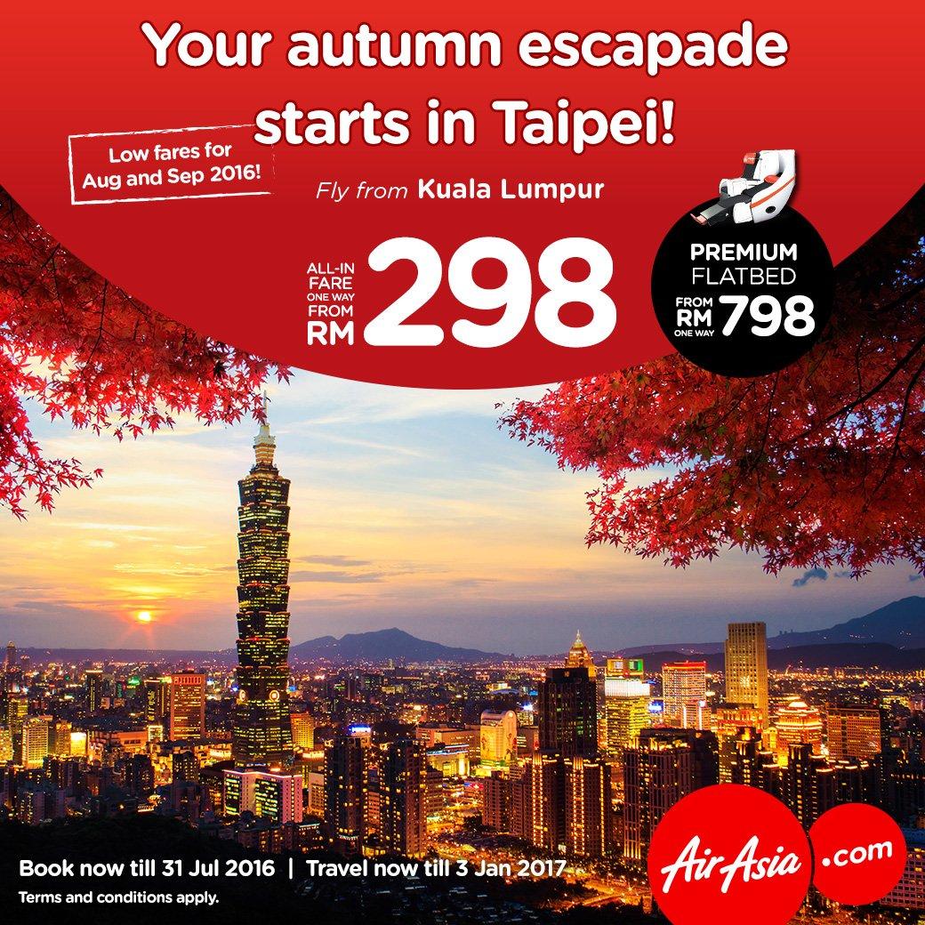 Inginkan pengalaman baru musim luruh? Jom kita ke Taipei dgn AirAsia X frm as low as RM298
