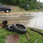 @WLWT Some of the debris that has washed across Kellogg at Belterra. https://t.co/nhOGDVUGHa