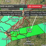 The Flash Flood Warning for eastern Hamilton and Clermont counties is now an Areal Flood Warning until 11am https://t.co/MsrHowZQ17