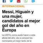 """Les ha faltado poco para titular """"Messi, Higuaín y una señora que nos da igual, candidatos al mejor gol"""" https://t.co/RSpjlGdUi8"""