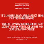 Todays Unison report shows the govt are failing to stand up for low paid care workers. Owen will end this scandal. https://t.co/GuqajHISy2