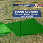 """Flood Advisory until 9:15 a.m. for NE Clermont, northern Brown, & southern Highland. 1-2"""" of rain on the way. @wcpo https://t.co/rQ9iyONGgq"""