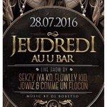 Rendez vous ce soir à Lausanne au U bar @Comme1flocon @Jowizzy_ @FLOWLLYKID @sekoucash 🔥 https://t.co/gi1OhPCEDF