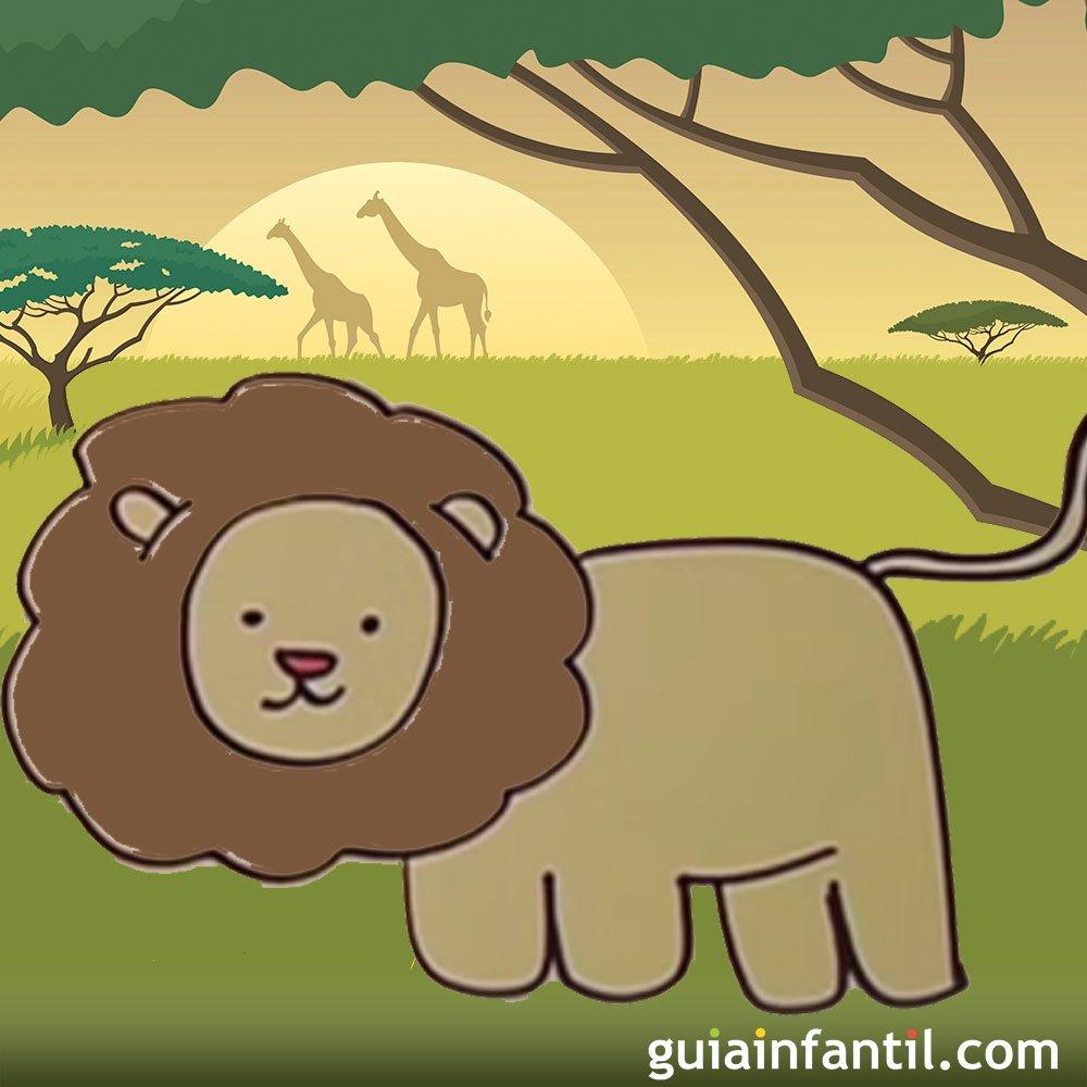 Cómo dibujar un león. Dibujos de animales para niños