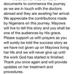1. Dear Nigerians, Mayowas Family has officially released a statement. Cc: @HenshawKate @Asiwaju_Foye #SaveMayowa https://t.co/K9bCcugrZl