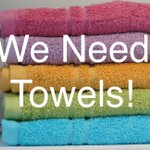 #Towel thursday here- plz donate your old towels as we have run very low & need them for guests to #shower #hoboken https://t.co/0rt0GZanP1