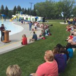 Official Grand Opening happening @ Henderson Pool. @LethbridgeCity thanking the partners who made this a reality. https://t.co/3TCQ4DWifT