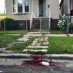 blood at the scene where 4 ppl were shot, 2 killed during block party in back of the yards #Chicago @chicagotribune https://t.co/0vkBvj7ozv