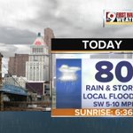 Temperatures will not be as warm today due to clouds & rain. High of 80 in @CityOfCincy. #Cincinnati #Cincywx @wcpo https://t.co/2ihVqf57kq
