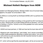 In other news, Michael Hollett has left NOW Magazine, which he co-founded. Alice Klein is now solely in charge. https://t.co/T78y3MQ9AO
