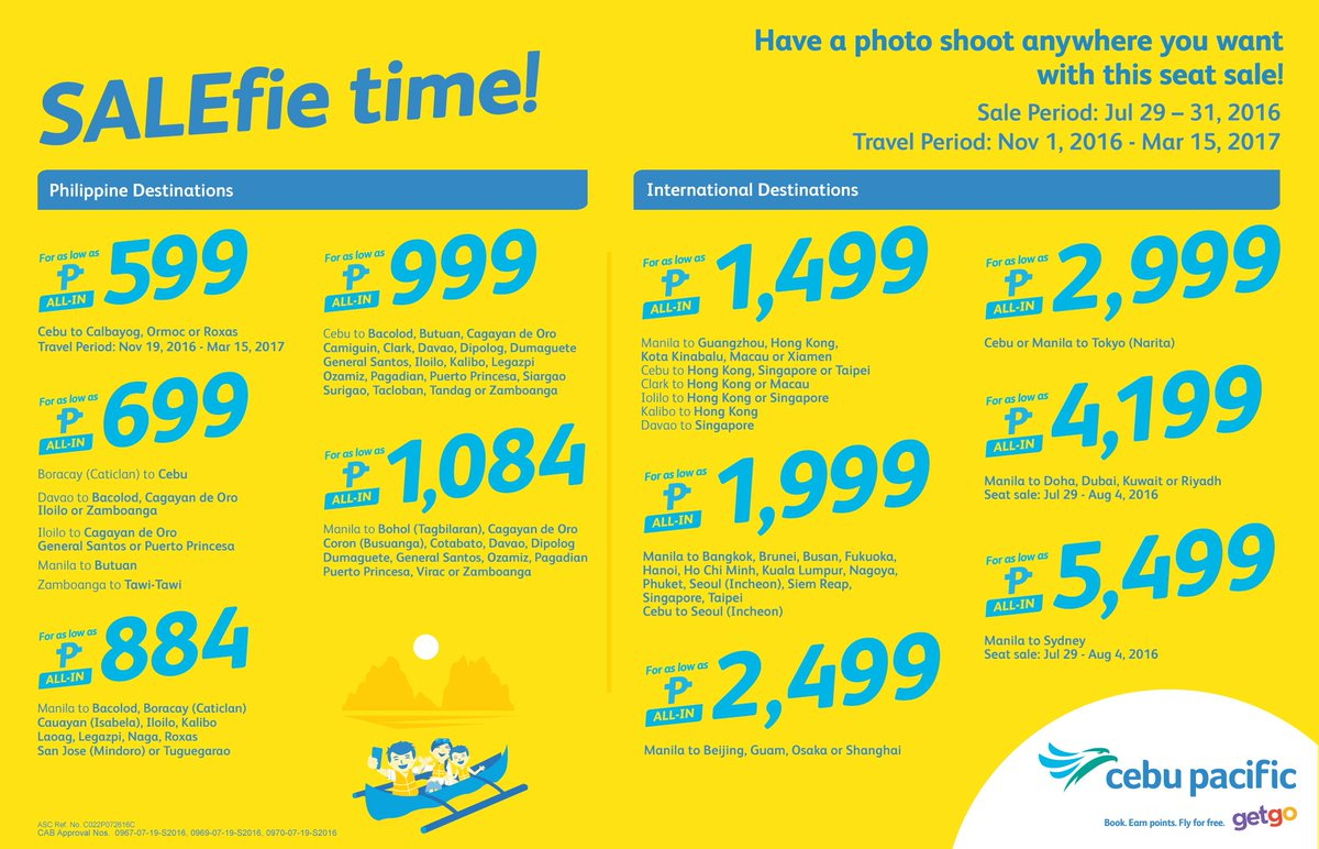Have a photo shoot anywhere you want! It's SALEfie time with the new CEBSeatSale! Book now!