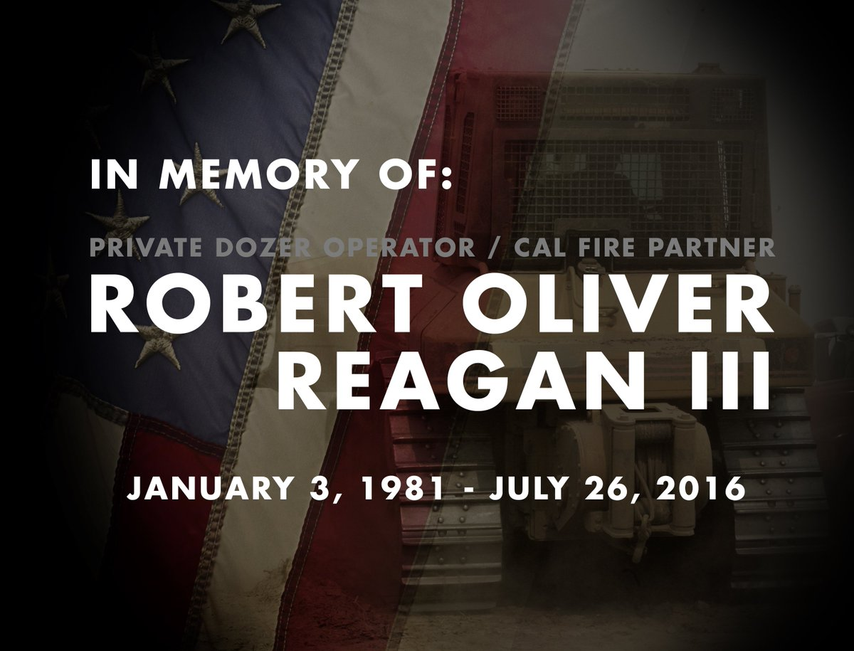 Our deepest condolences to the loved ones of Robert Reagan who was fatally injured while on the #SoberanesFire. https://t.co/F3SfmE9Eqf