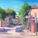 """Light & shadows"" (Corydon Ave.) 24""x22"", acrylic on canvas $430, canvas print $45 #art #winnipeg https://t.co/clR4zAvlqn"