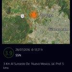 Magnitud 3.9 - SSN con epicentro al norponiente de la ZMGDL. Intensidad muy débil (No se alertan). https://t.co/yIHQ81hclX