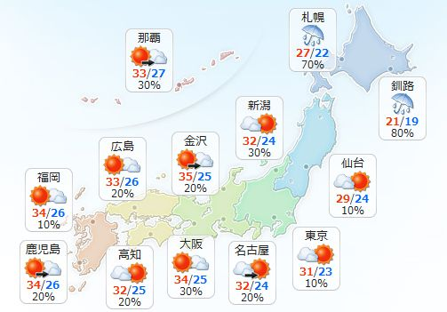 【7月29日(金)】北海道は雨が降ったりやんだりで、局地的に非常に激しく降る見込みです。引き続き、土…