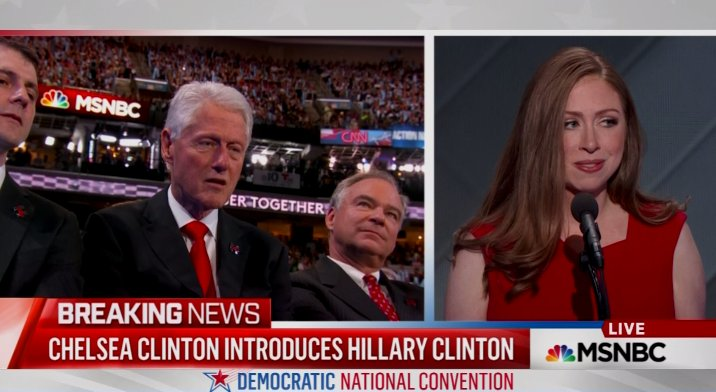 Bill Clinton watching Chelsea introduce her