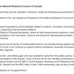 Government announces new president of the National Research Council. #cdnpoli https://t.co/43wh7fR5jK