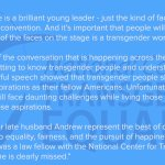 Our friend @SarahEMcBride was just the first out #trans person to speak at a party convention! Heres our statement: https://t.co/Q4g5f9hkAY