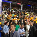 Say Cheese! Wisconsin delegates @DemConvention with states trademark cheese wedge headgear. #dpareporter https://t.co/EMfqMNBLP5