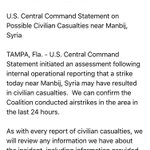 .@CENTCOM now sends word that it may be behind *another* civilian casualty incident in Manbij, Syria. https://t.co/UmB8IKH9BP