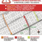 Atención a los cambios a un solo sentido vial. #Cancún #BenitoJuárez https://t.co/ybteJQFqjF