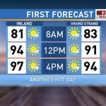 Surprise, surprise! Another hot afternoon on tap. Temps climb back into the 90s w/ heat index btwn 102-105° #scwx https://t.co/wh8VeEx0IS
