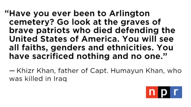 Khizr Khan, the father of an American Muslim captain killed in Iraq, had a message for Trump #DemsInPhilly
