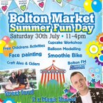 Kids already bored one week in to the #SummerHolidays? Come down to @BoltonMarkets tmrw. All activities are free. https://t.co/NxaTSHDiIf