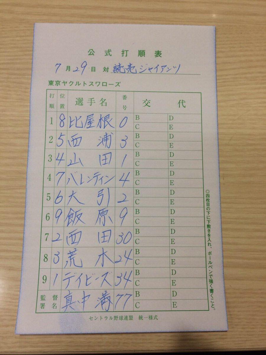 【G-S】7月29日(金) 東京ドーム18:00プレイボール⚾︎ 本日のスタメンです。いいはらぁ〜!…
