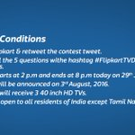 Heres everything you need to know to participate in the #FlipkartTVDays contest! 1st question coming up in 5 mins. https://t.co/kXtzMD9Y2y