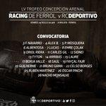 Listaxe d #osnosos convocados para o LV Trofeo Concepción Arenal: @RacingFerrolSAD - #Dépor ás 20:30 h. na Malata https://t.co/OpiYnF4Vp4