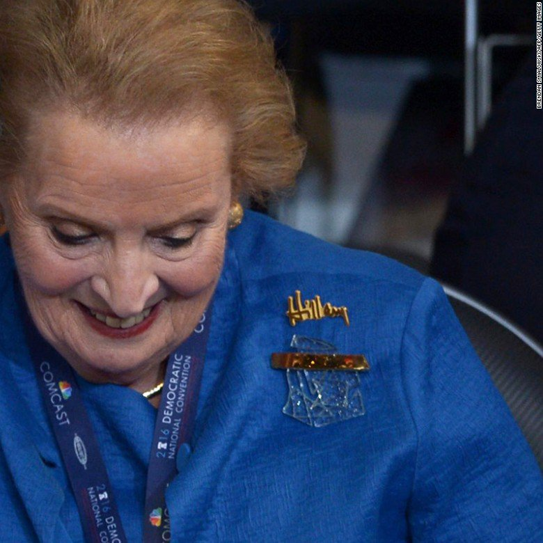 Madeleine Albright sported a broken glass ceiling pin at #DemsInPhilly last night