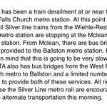 #wmata service suspended West Falls Church - Ballston. No Silver Line trains running thru EFC. Info from Loudoun Co: https://t.co/hfx23QOYdf