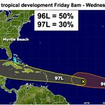 FRI 9AM #Invest97L low chnce of dev/headed 4 Caribbean. #Invest96L good chnce to become TD. Struggle long term #scwx https://t.co/jiuhSKi1Y6