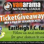 .@eastleighfc fans! Win a pair of season tickets! Follow us & RT to enter in the #BigTicketGiveaway2016 https://t.co/R70CsVRVeZ