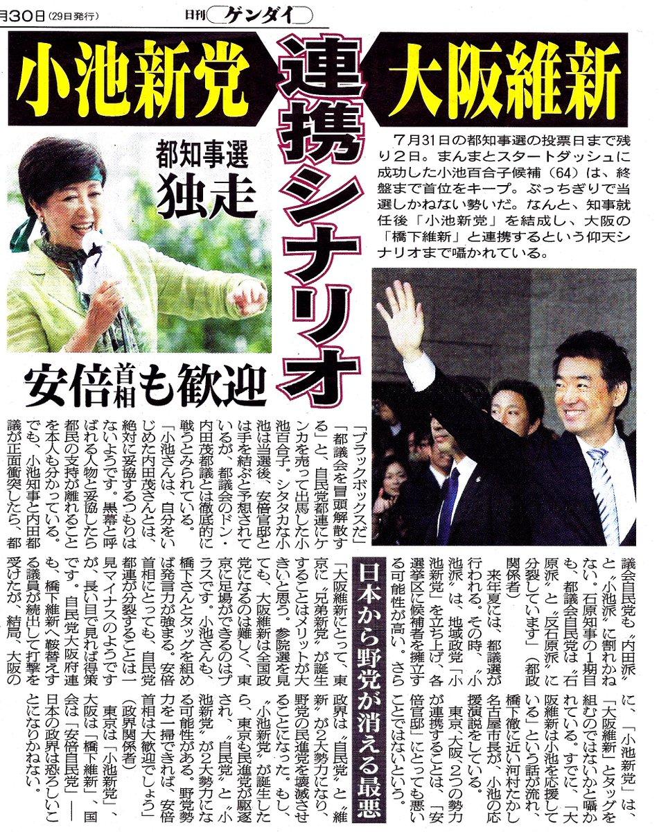 日刊ゲンダイ7/30付に、小池百合子が都知事になれば新党を立ち上げ、橋下維新と連携する可能性が高いと…