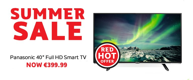 "Save yourself €200 this #BankHolidayWeekend on the Panasonic 40"" Smart Full HD TV - https://t.co/e7F5uewfrO https://t.co/DschyZUuuh"