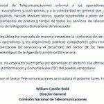 Conatel SUSPENDE AUMENTOS de todos los servicios de telecomunicaciones por instrucción de @NicolasMaduro https://t.co/7i0Q4QXhQ9