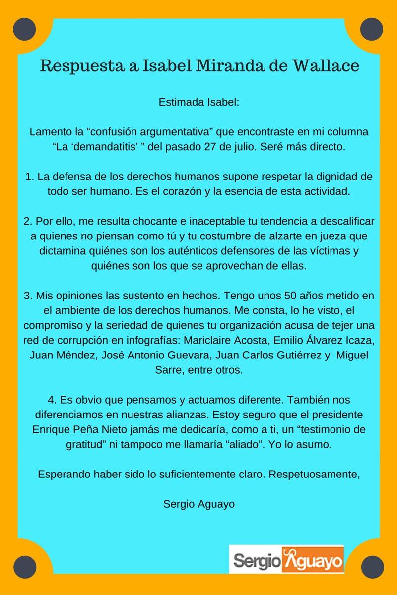 Respuesta a Isabel Miranda de Wallace (aparecida hoy en Reforma) https://t.co/6jRrTxcSBa
