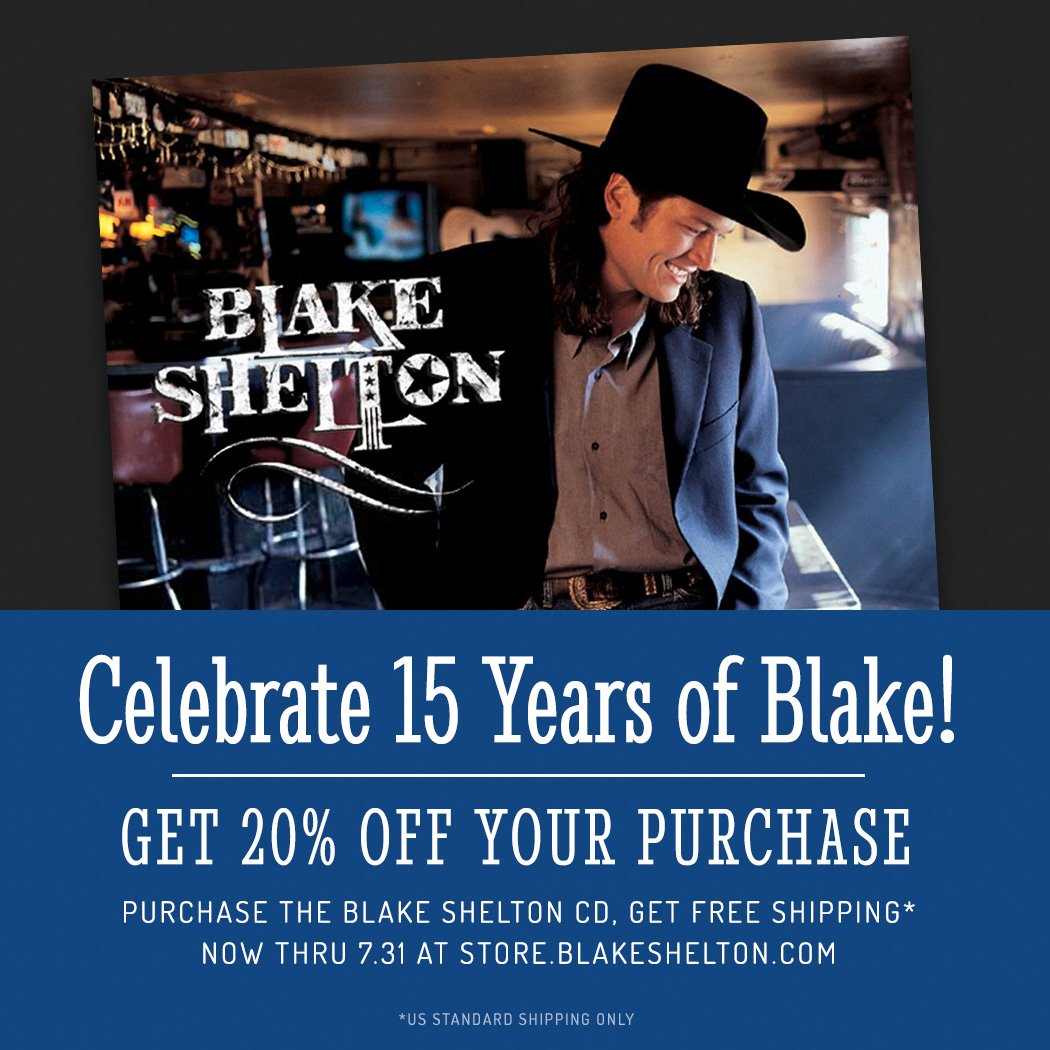 Happy 15th Anniversary 'Blake Shelton'! 20%off+free ship n BS store this weekend: https://t.co/xxwfAvumBQ – Team BS https://t.co/RiUUydyHhu