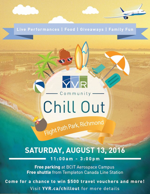 RT @Miss604: YVR Community Chill Out -- August 13 @yvrairport